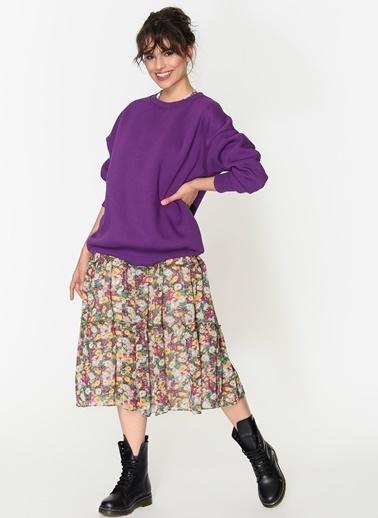 Loves You Şardonlu Loose Fit Basic Sweatshirt Mor